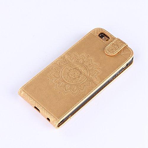 Hülle iPhone 6S Schutzhülle iPhone 6,SainCat iPhone 6/6S 4.7 Case Ledertasche Brieftasche im BookStyle, iPhone 6/6S 4.7 PU Leder Wallet Case Folio Schutzhülle Hülle Lederhülle Bumper Handytasche Skin  Golden