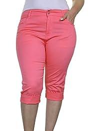 (1442-1) Pantacourt ¾ Extensible en Jeans Rose pour Grandes Tailles