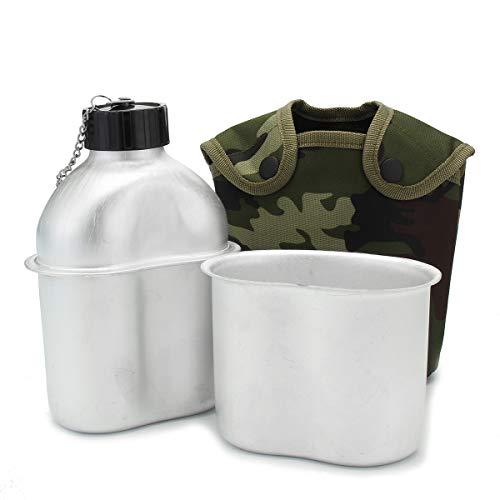 EgBert Militärkantine 1Qt Edelstahl-Cup Becher Nylon Cover Camping Wandern Mit Dem Fahrrad Wasserflasche -