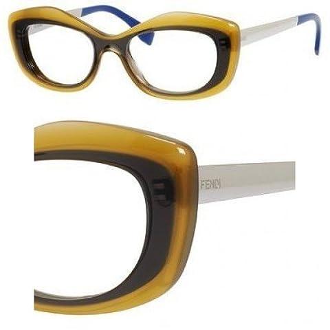 Fendi Women's 0030 Fashion Colour Block Honey / Grey / Palladium / Blue Frame Plastic Eyeglasses