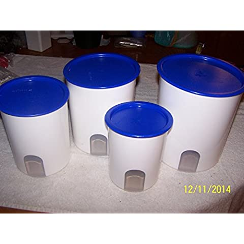 Tupperware One Touch Reminder Canister Set (4) White W/Brilliant Blue Seals by Tupperware