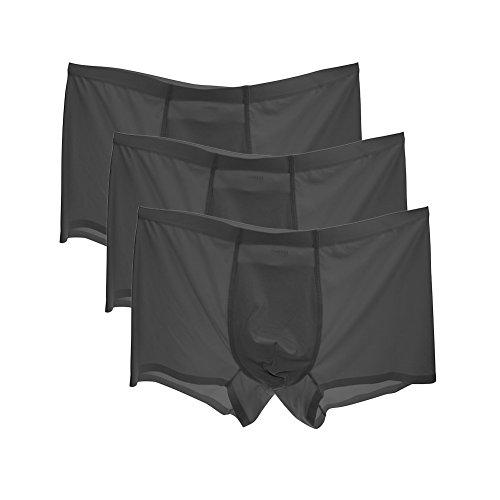 HuntDream Männer Low Rise Ice Silk Smooth Boxer-Briefs Bequeme Unterwäsche US-Größe XL/Asian 3XL, Schwarz - Briefs-pack Boxer Leistung
