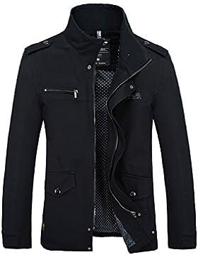 Los señores un simulacro de chaqueta de cuello Sau lavable, largo, cortavientos casual, negro ,XXXXL