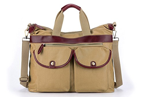 la-poet-unisex-water-resistant-canvas-leather-tote-crossbody-bag-khaki