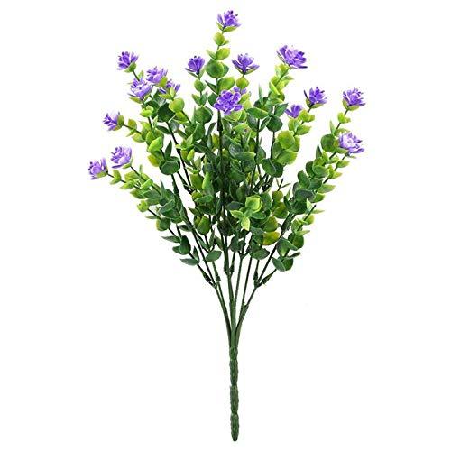 Xigeapg 4pcs gefaelschte Pflanzen kuenstliche Gruen Straeucher Eukalyptus Zweige mit lila Blume Kunststoff Buesche Haus Buero Garten Patio Hof Indoor Outdoor-Dekor -
