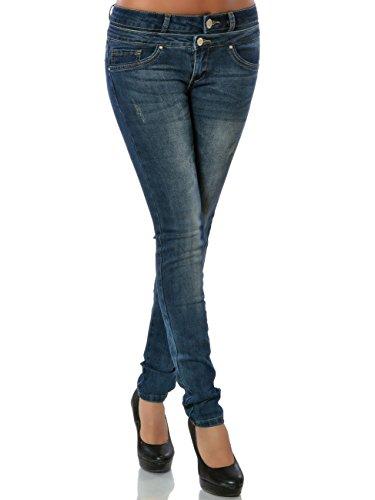 Damen Jeanshose Skinny Hose Denim Jeans Röhre No 15833, Farbe:Blau, Größe:XL / 42