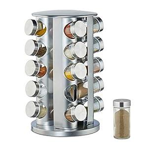 Relaxdays 10026458 Gewürzkarussell mit 20 Gewürzgläsern, 360° drehbar, Gewürzdosen zum Streuen, 34,5 cm hoch, Edelstahl, Silber, Stahl