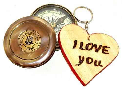 Nautical.Gift.Decor Kompass im Vintage-Stil, nautischer Kompass, Messing-Kompass, Robert Frost Gedicht