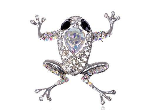 Alilang Precious Princess schwarz Kristall Strass Fashion Springender Frosch Pet Brosche Pin
