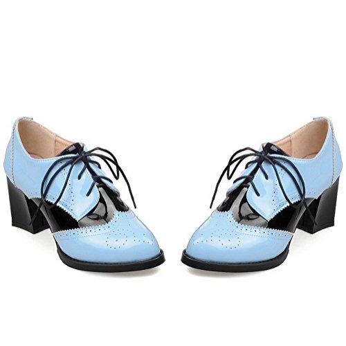 AllhqFashion Damen Lackleder Schnüren Spitz Zehe Hoher Absatz Pumps Schuhe Blau