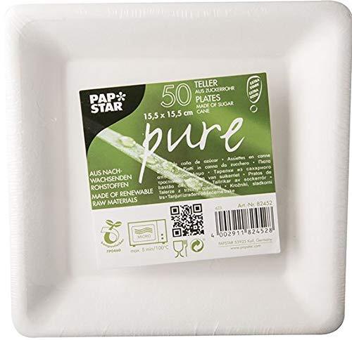 PAPSTAR 82452 50 Teller, Zuckerrohr Pure, eckig 15,5 x 15,5 cm, weiß (Party-teller Verschiedene Farben)