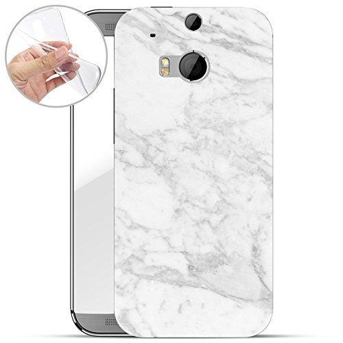 Marmor-sitz (finoo | HTC one M8 Weiche Flexible Silikon-Handy-Hülle | Transparente TPU Cover Schale mit Motiv | Tasche Case Etui mit Ultra Slim Rundum-Schutz | Marmor 03)