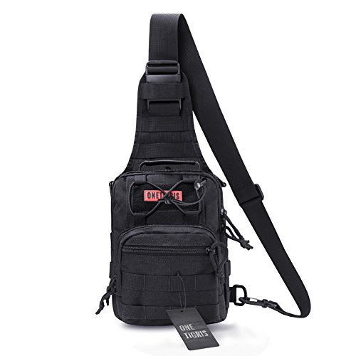 OneTigris 1000D Taktische Molle Umhängetasche EDC Brusttasche für Outdoor-Aktivitäten (Schwarz)