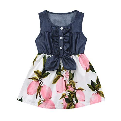 ung, Yanhoo Kleinkind Baby äRmellose Zitrone Pfirsich Print Kleid Splice Denim Kleider äRmelloser Bogen Kinder Lemon GenäHtes Rock ()