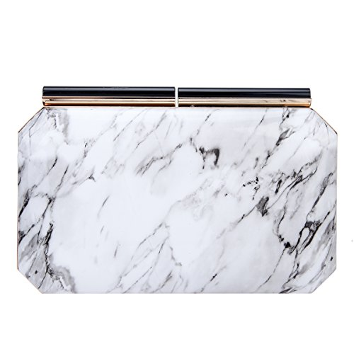 Bonjanvye Marble Pattern Clutch Purses for Women Evening Purses and Clutches White