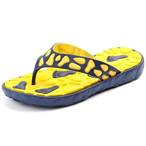 Men's Comfortable Non Slip Flip Flops Platform Slippers yellow