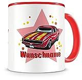 Samunshi® Kinder-Tasse mit Namen und einem roten Muscle Car als Motiv Bild Kaffeetasse Teetasse Becher Kakaotasse