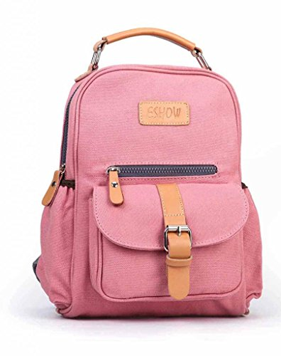 Eshow Damen Canvas Freizeit Sportlich Uni Rucksack Taschen Pink