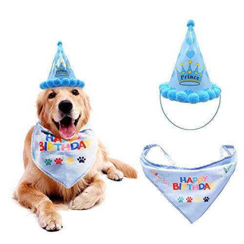 Babero lindo del animal doméstico del gato del perro sombrero del cumpleaños...
