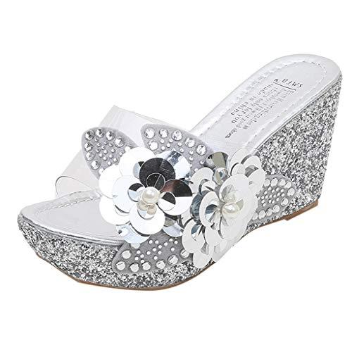 iLPM5 Damen Sommer Casual Strass Pailletten Blume Klar Keilabsatz Sandalen Dicken Boden Römischen Strand Hausschuhe Schuhe(Silber,40)