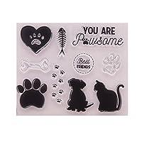 guanjunLI Dog Cat Sheet of Clear Stamps -DIY Scrapbooking, Planner, Card Making, journaling