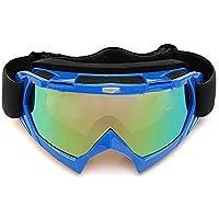 Gafas de esqui - SODIAL(R)Gafas de esqui de motocicleta resistente a polvos ATV fuera de la carretera de motocross de un solo lente de color azul