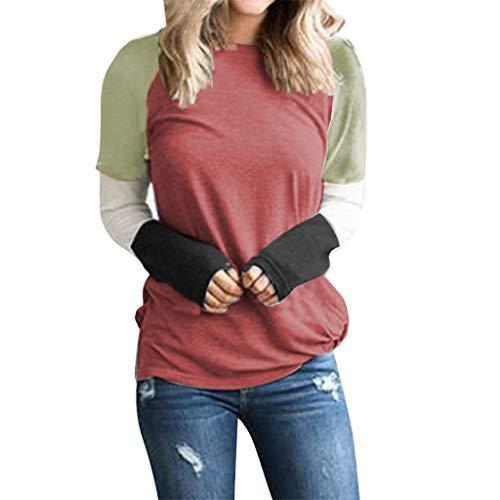 Udancin Langarm T-Shirts Bluse Damen Frauen Mode Spleißen Langärmliges Kontrastfarbe Pullover Lose Oansatz Rundhalsausschnitt Elegant Schöne Freizeit Casual Einfach Urlaub Sweatshirt -