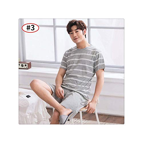 ajama Sets Couple Pajamas Women Men Sleepwear Mujer Striped Pijama Short Sleeve Nightwear Homewear Plus Size Men Style3 XXL ()