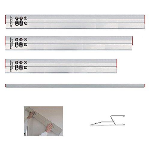 3 tlg. Set - DEWEPRO® kombinierte Alu Trapez/HA- Kartätsche - Abziehlatte - Richtscheit - Aluminium - Längen: 100cm, 150cm und 200cm (1m, 1,5m und2m)