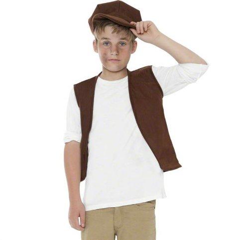 Boys Victorian Tudor Medieval Urchin Waistcoat & Cap Fancy Dress Costume 6-9 yrs by (Urchin Boy Kostüm)