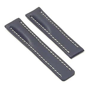 Dassari capital bande pour montre en cuir lisse pour breitling avec boucle deployante bleu 24 - Bande collante pour ourlet ...