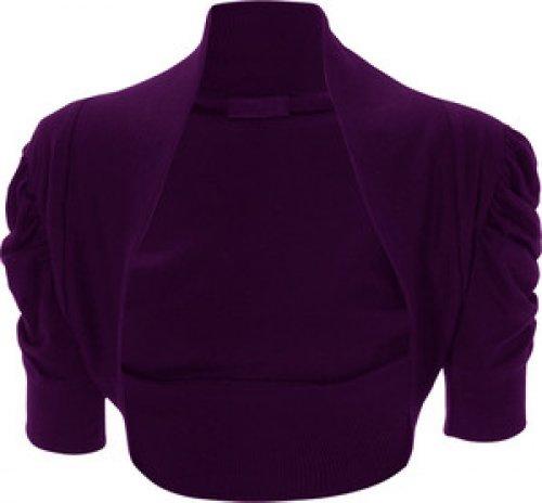 Femmes Grande Taille ruché manches 3/4 cultures cardigan boléro dessus de hausser purple