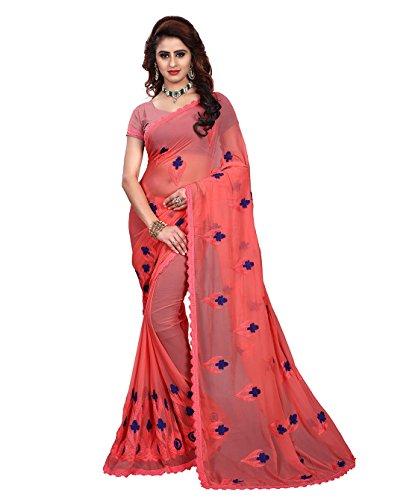Being Banarasi Chiffon Saree (1266_B_Red_Free Size)