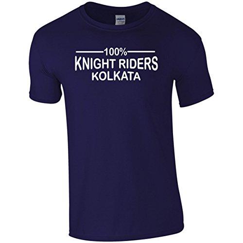 100% Kolkata Knight Riders IPL 2018 Cricket T-Shirt Mens Navy