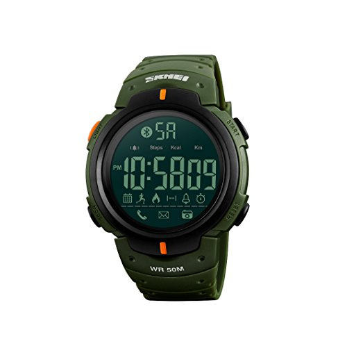 JQXB Relojes Digitales para Hombre - Bluetooth Fitness Tracker Relojes Militares Impermeable Al Aire...