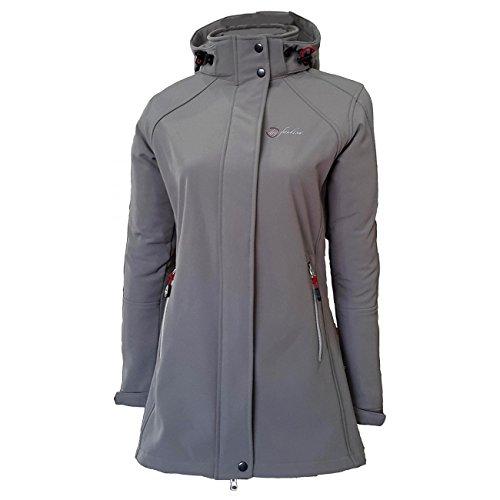 Dry Fashion Damen Softshell Mantel Sylt Regenmantel Parka Funktionsmantel Kapuze, Farbe:grau, Größe:52