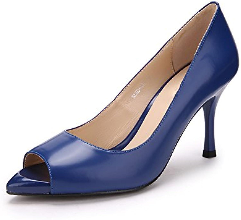 HUAIHAIZ Tacones altosBoca de Pescado tacones sexy mujer sola mujer calzado impermeable de verano, 37, azul