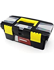 Latiq Mart Multipurpose Easy to Carry Tool Organizer Box for Your Hardware Tools Kits - (Plastic, Black + Yellow)