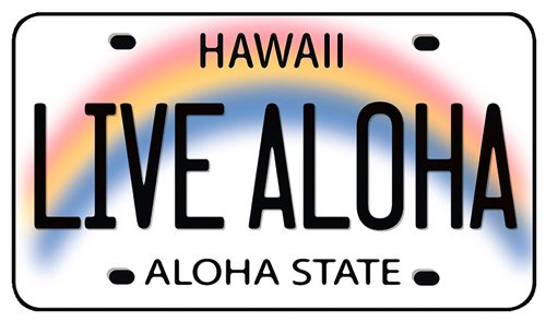 Autoaufkleber mit Hawaiianischem Motiv - Live Aloha Hawaii License Plate