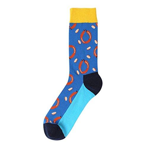Sansee Neue Mode Mann Herren Männer Jungen Streifen Block Sock Bunte Casual Socke Sneakersocken Sportsocken Baumwollsocke (B, Etwa 40 cm)
