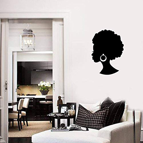 Wandaufkleber Afrika Mädchen Wandtattoo Schönheitssalon Haar Ohrringe Wandbild Dekor Moderne Schlafzimmer Vinyl Wandaufkleber