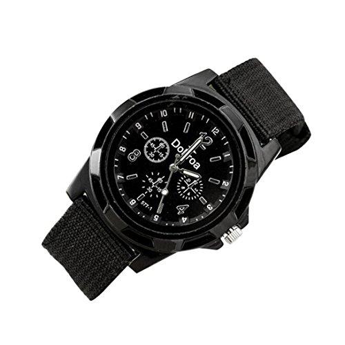 Uhr Uhren Sportuhr armbanduhr DAY.LIN Herrenmode Sport geflochtene Leinwand Gürtel Uhr analoge Armbanduhr (schwarz) (Hut Bustier)