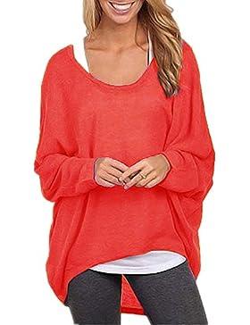 ZIOOER Mujeres Suelto Jersey Suéter Pullover Cárdigan Camiseta Cuello Redondo con Manga Larga Otoño Sudadera Casual...