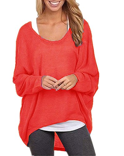 ZIOOER New Arrival Damen Pulli Langarm T-Shirt Rundhals Ausschnitt Lose Bluse Hemd Pullover Oversize Sweatshirt Oberteil Tops Rot 3XL (Top Sweatshirt Roten)