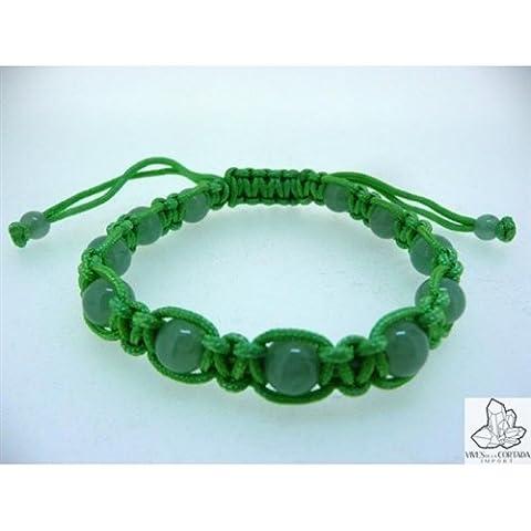 Braccialetto di macrame con quarzo verde (palline di 8 mm), chiusura (Quarzo Verde)