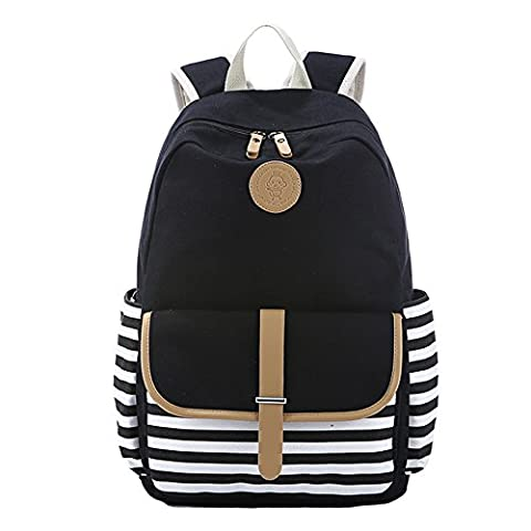 YSBER Preppy French Breton Nautical Striped Backpack Rucksack Marine Sailor Navy Stripy School Bags For Teenage Girls and Boys(Black)