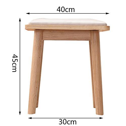 Leg Tragbaren Hocker (Hocker Arbeitshocker Sitzhocker Sitzbank Massivholzhocker Esszimmerstuhl Stoff Make-up Hocker Dressing Hocker Tisch Hocker Platz Hocker FENGMING (Farbe : Wood Color - Long Legs))