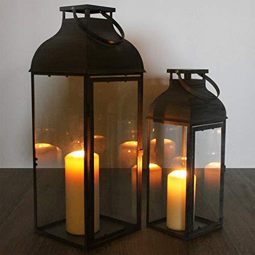 Multistore 2002 2tlg. Laternen-Set H39/53cm, Grau, Laterne Gartenlaterne Kerzenhalter Gartenbeleuchtung Windlicht