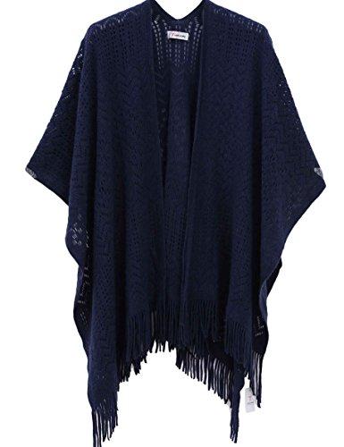 stricken stola für Damen,mädchen Schal Frauen Kimono Cardigan(Marine)
