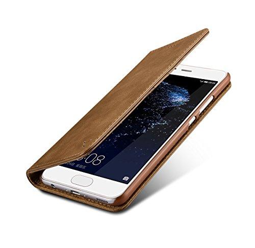 Huawei P10 Plus Wallet Case, 100% Rindsleder Flip Case, Bargeld und Karte sind kompatibel - Braun Braun